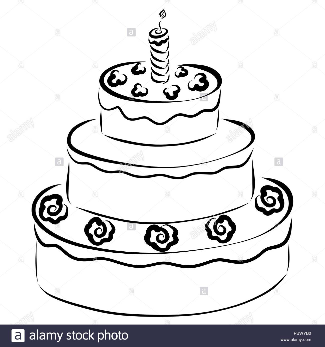 Ein Hohes Grossen Kuchen Geschmuckt Mit Blumen Und Eine Brennende