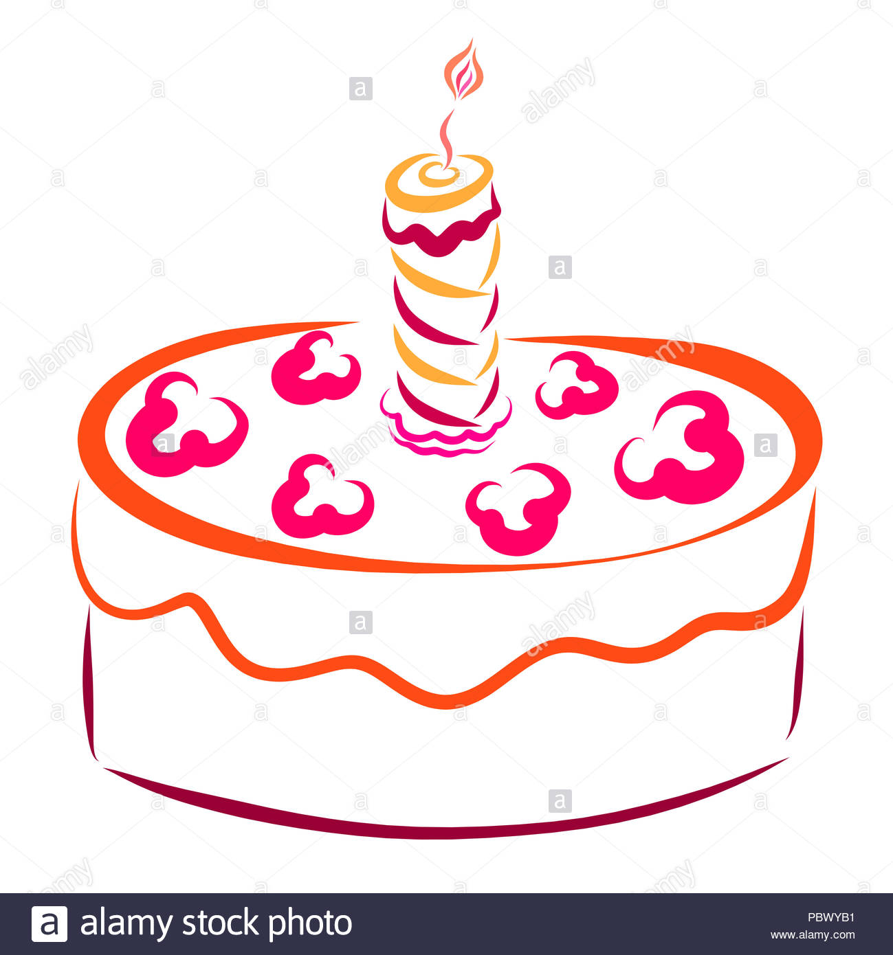Kuchen Mit Einer Brennenden Kerze Und Dekoration Stockfoto Bild