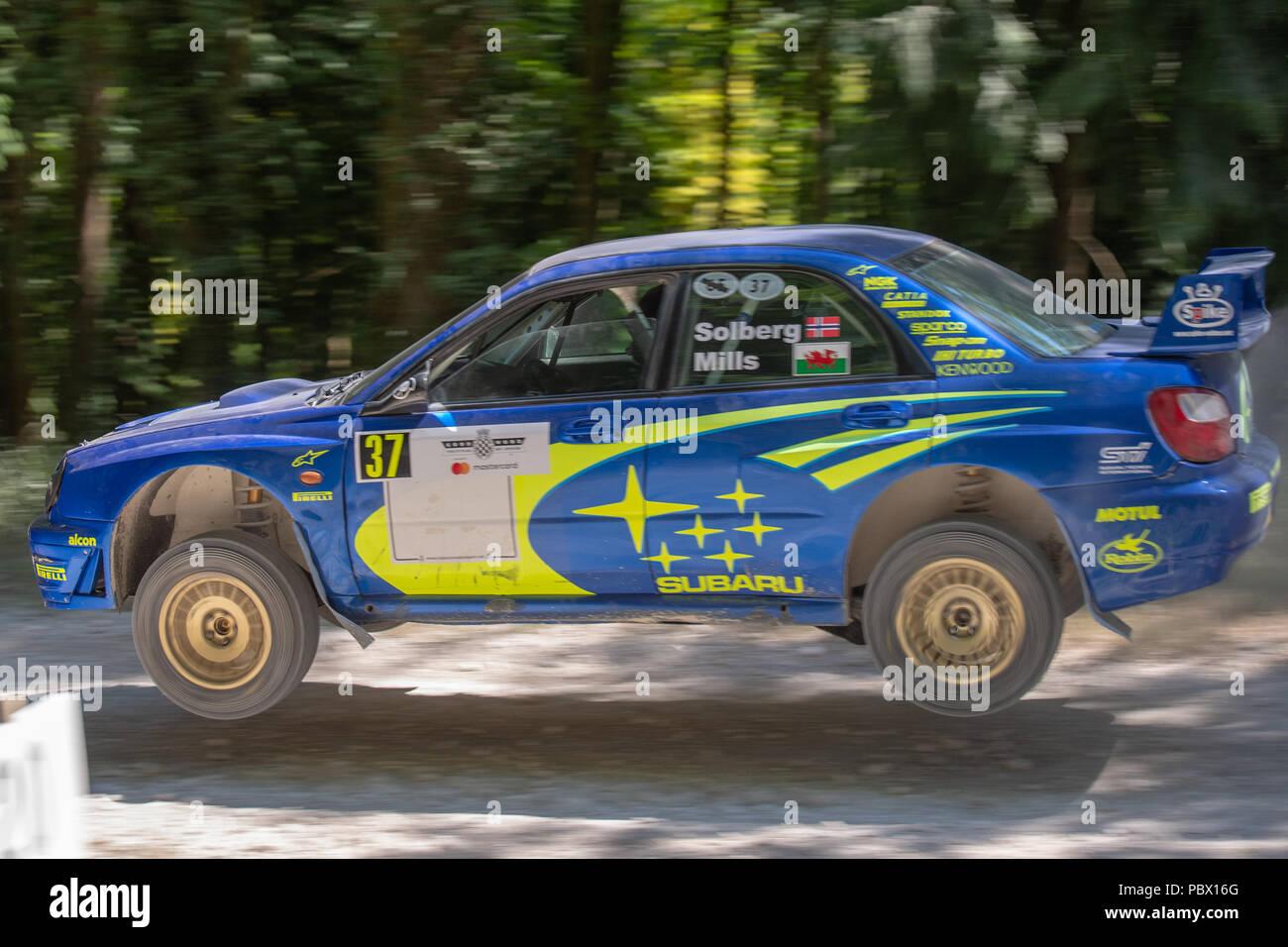 Eine air Bourne Subaru Impreza rallye auto im Wald Stufen des Goodwood Festival der Geschwindigkeit 2018 Stockbild
