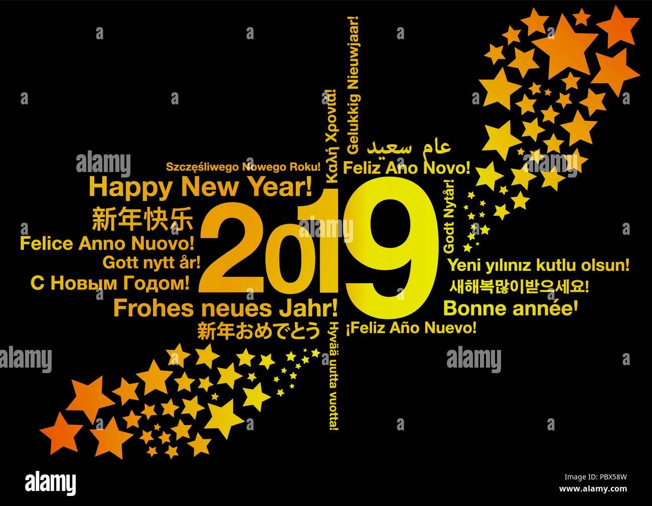 Frohes Neues Jahr 2019 in verschiedenen Sprachen Vektor Abbildung ...