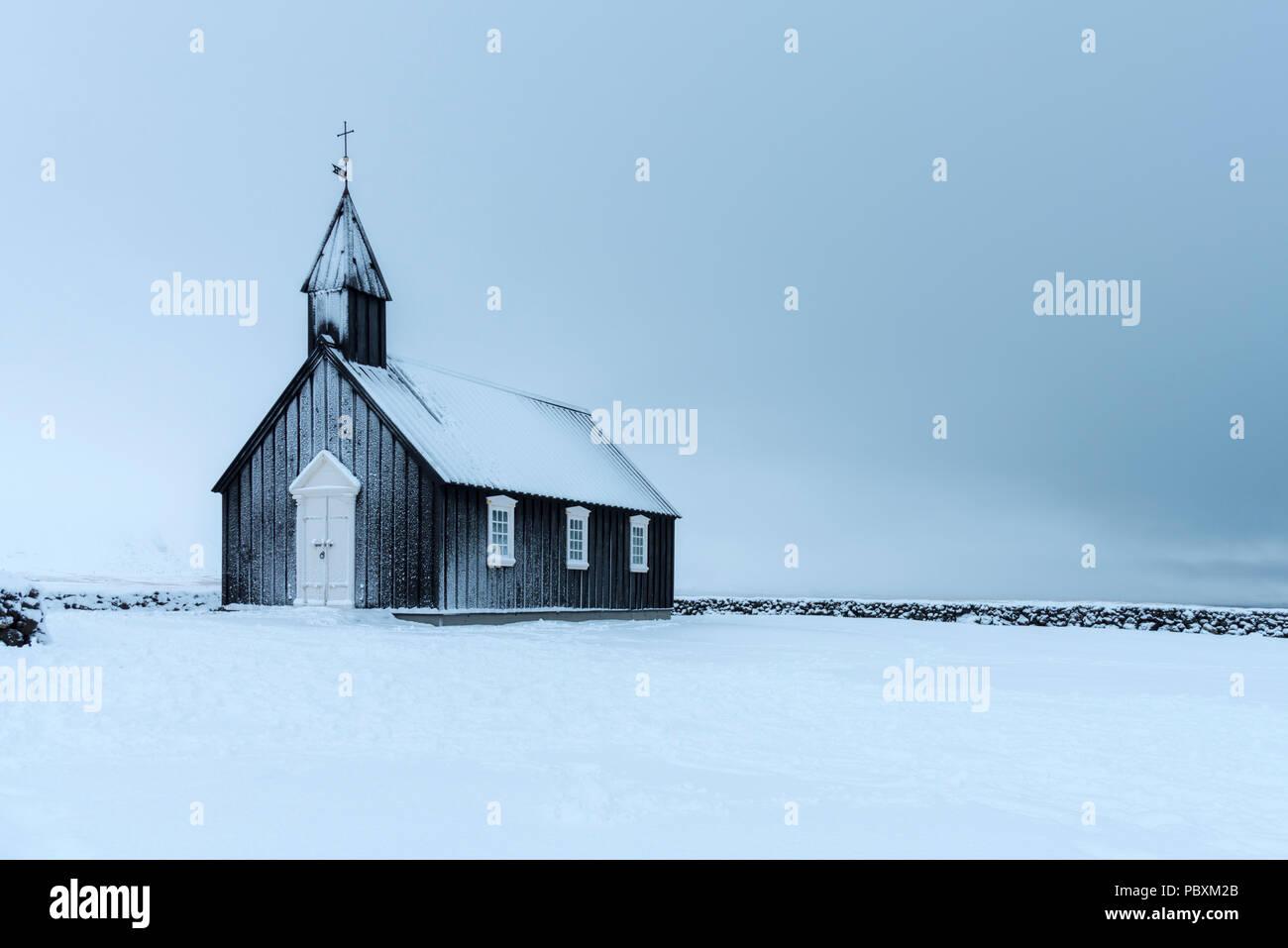 Budir Kirche, Snaefellsnes Island, Europa im Winter Stockbild