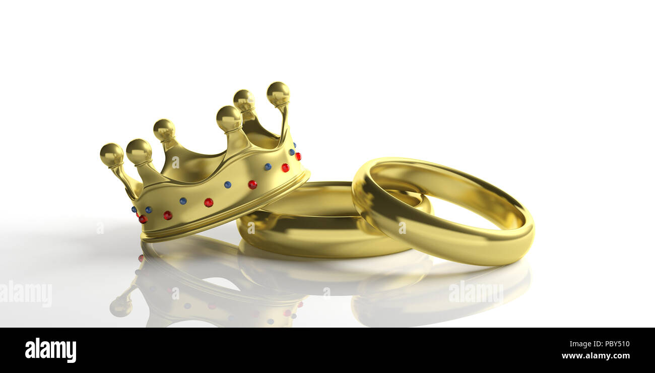 Royal Wedding Paar Goldene Hochzeit Ringe Und Eine Krone