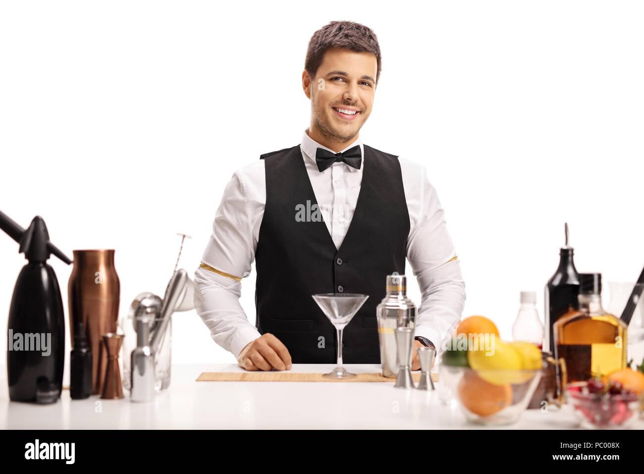 Barkeeper suchen an der Kamera und lächelnd auf weißem Hintergrund Stockbild