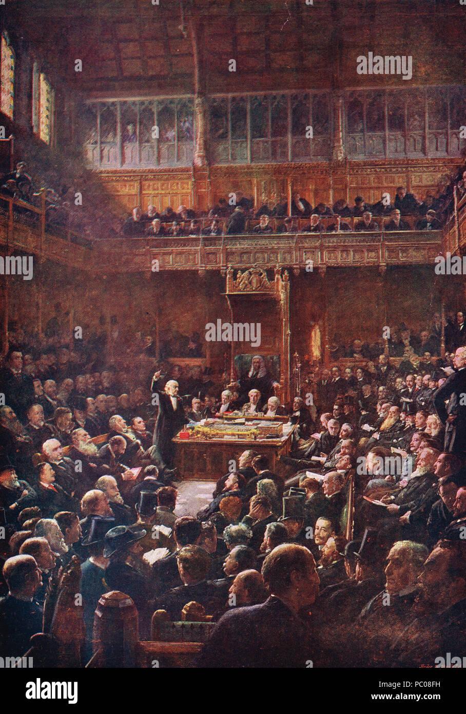 William Gladstone Rede, die Einführung der zweiten Home Rule Bill, House of Commons, 13. Februar 1893 Stockbild