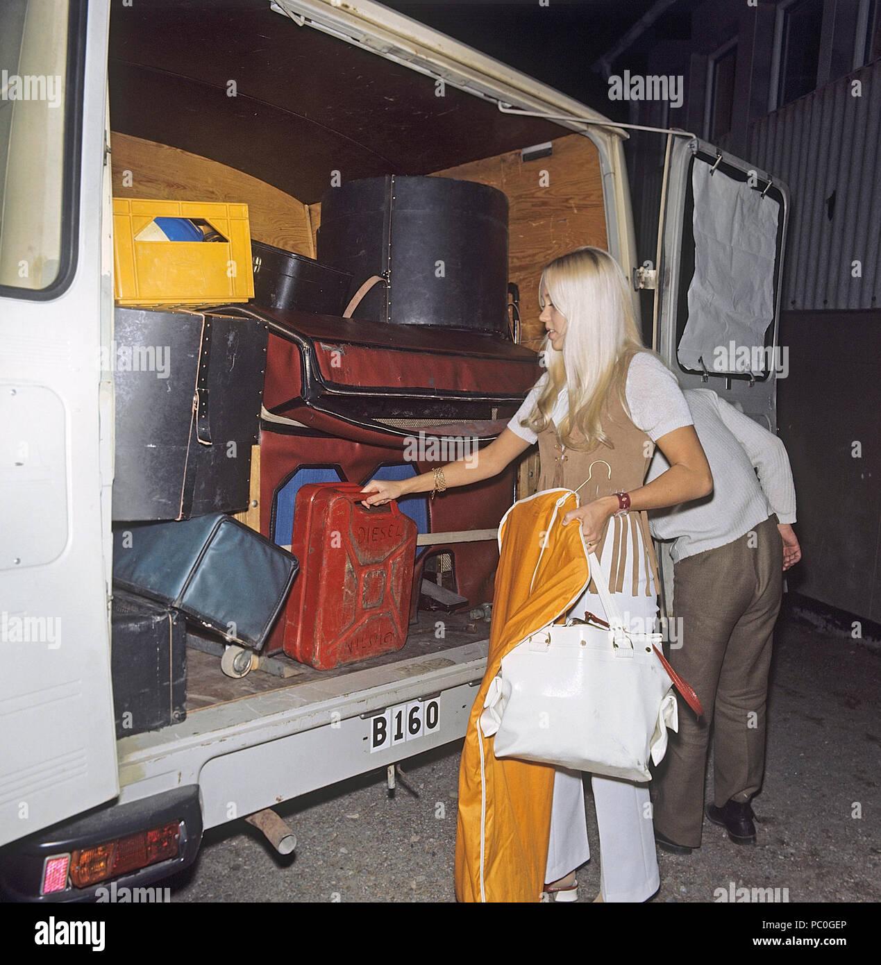 Agnetha Fältskog. Sänger. Mitglied der Popgruppe ABBA. Geboren 1950. Hier im Bild 1970 bei Touren in Schweden mit dem Agnetha Fältskogs zeigen. Foto: Kristoffersson Stockbild