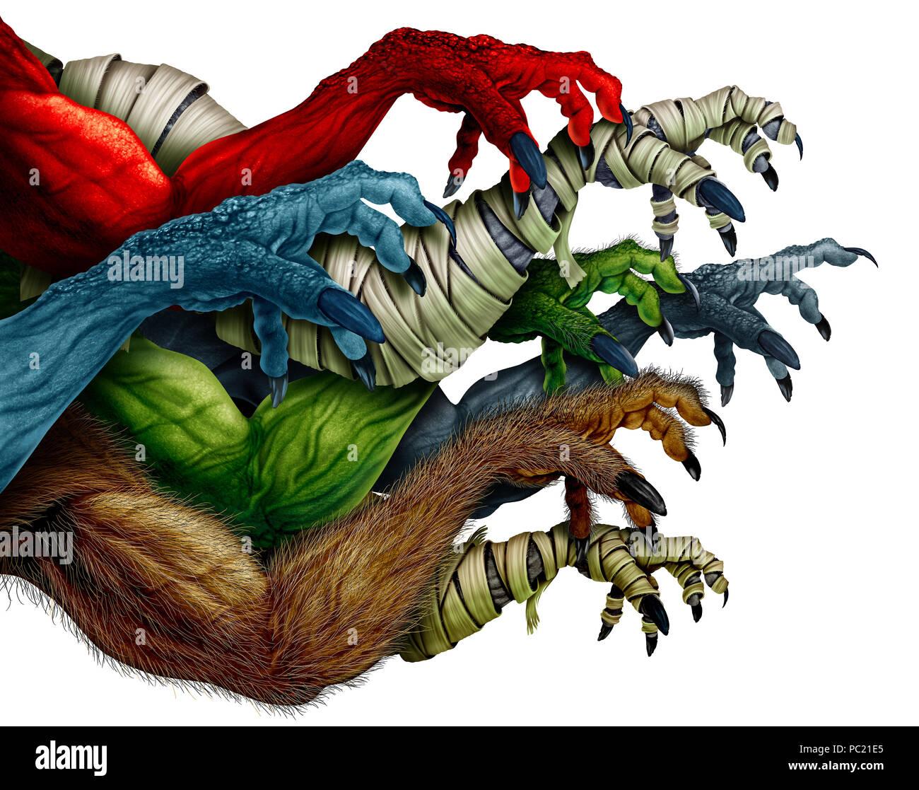 Gruppe von Monster Waffen auf einem weißen Hintergrund als grabbing zombie Mumie Werwolf und roten Daemon Als gruselige Halloween Design Element isoliert. Stockbild