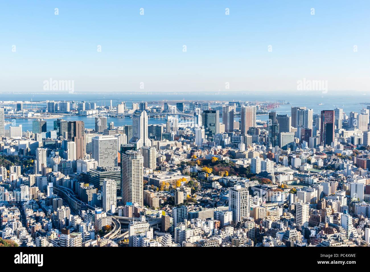 Asien Business Konzept für Immobilien und Corporate Bau - Panoramablick auf die moderne Skyline der Stadt aus der Vogelperspektive Luftaufnahme von Odaiba & Tokyo Metropolitan E Stockbild