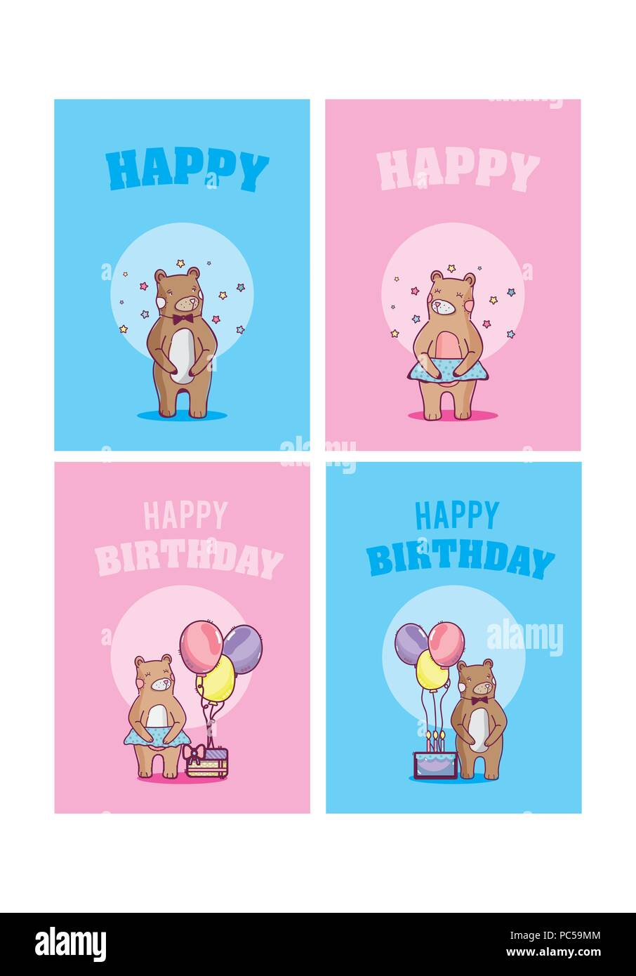Satz Von Happy Birthday Cards