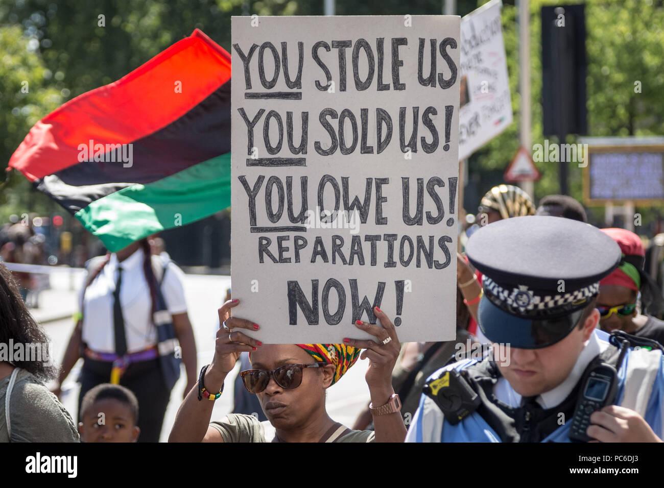 Jährliche Afrikan Emanzipation Tag Reparationen Rally und März in Brixton, London, UK. Stockbild