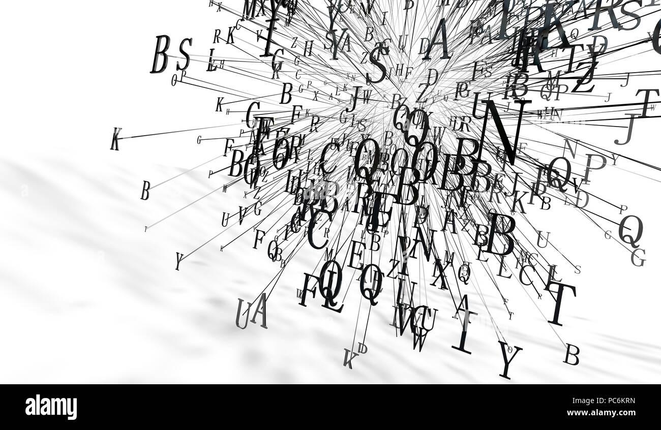3d-Abbildung. Konzept für kreatives Schreiben und Literatur. Die Macht der Worte und der Sprache Stockbild