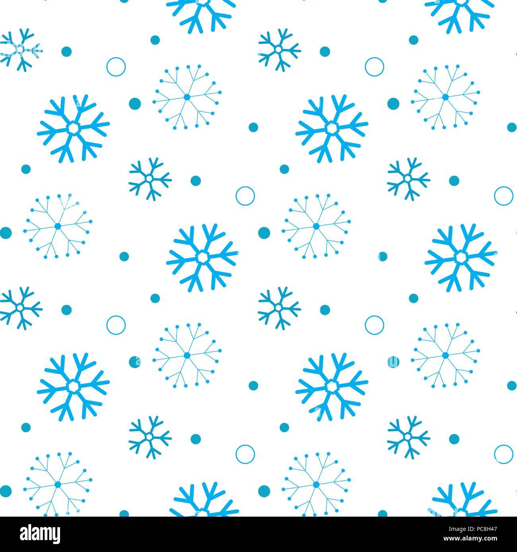 Schneeflocke nahtlose Muster. Schnee auf weißem Hintergrund ...