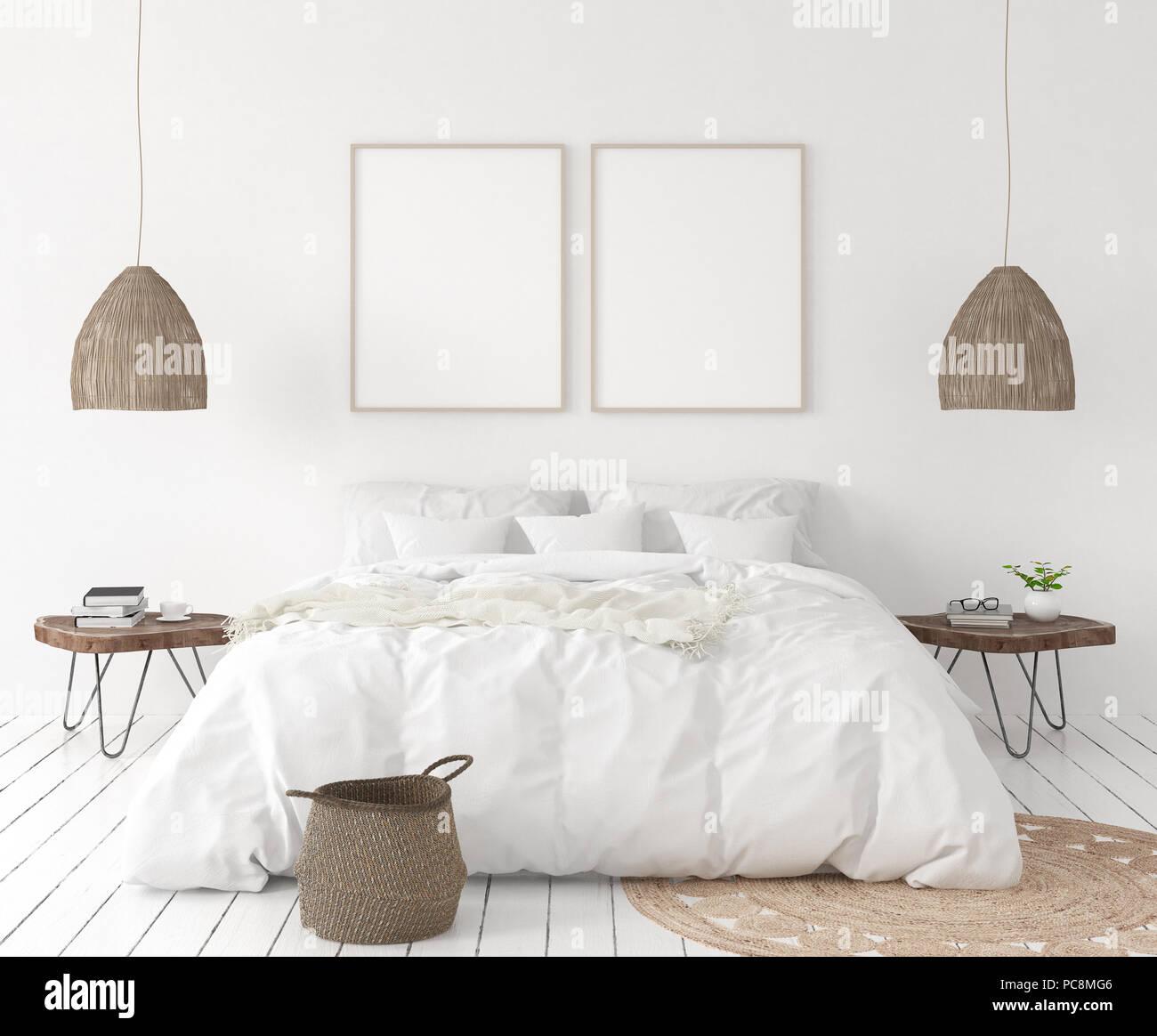 Mock-up Titelbild im Schlafzimmer, im skandinavischen Stil, 3D ...