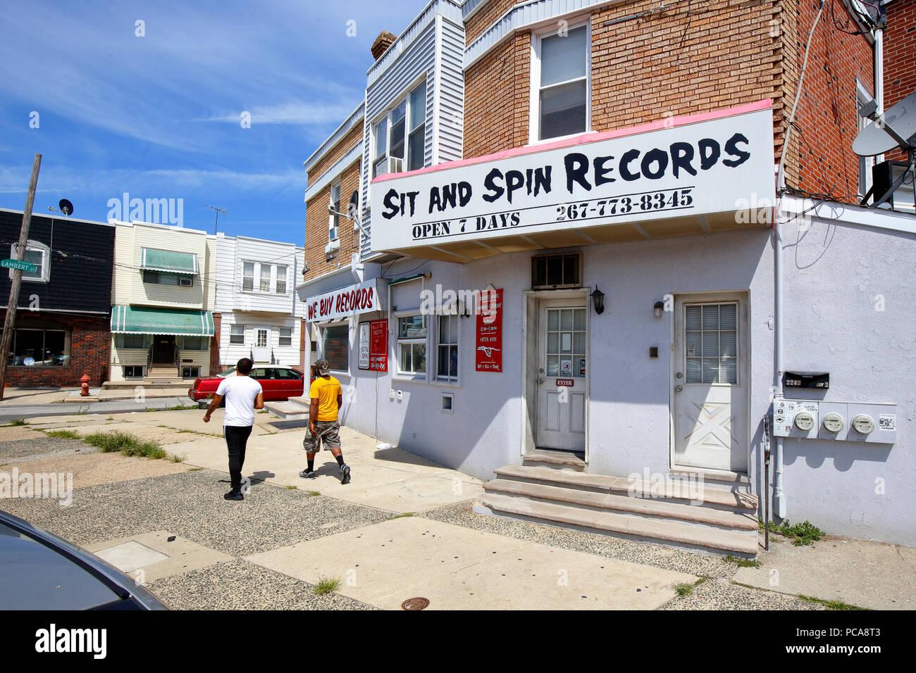 Sitzen und Spin Records, 2243 S Lambert St, Philadelphia, PA Stockbild