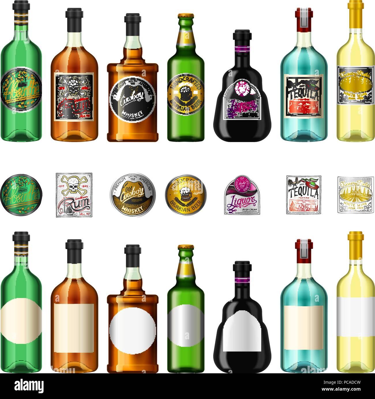 Alkohol Getränke in einer Flasche mit unterschiedlichen vintage ...