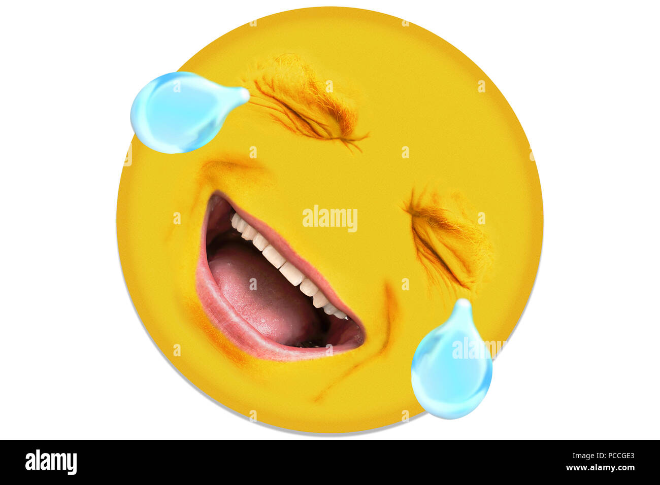 Ein Mann In Seiner Mitte 40 Lacht Die Gesichtszüge Haben Eine Menge
