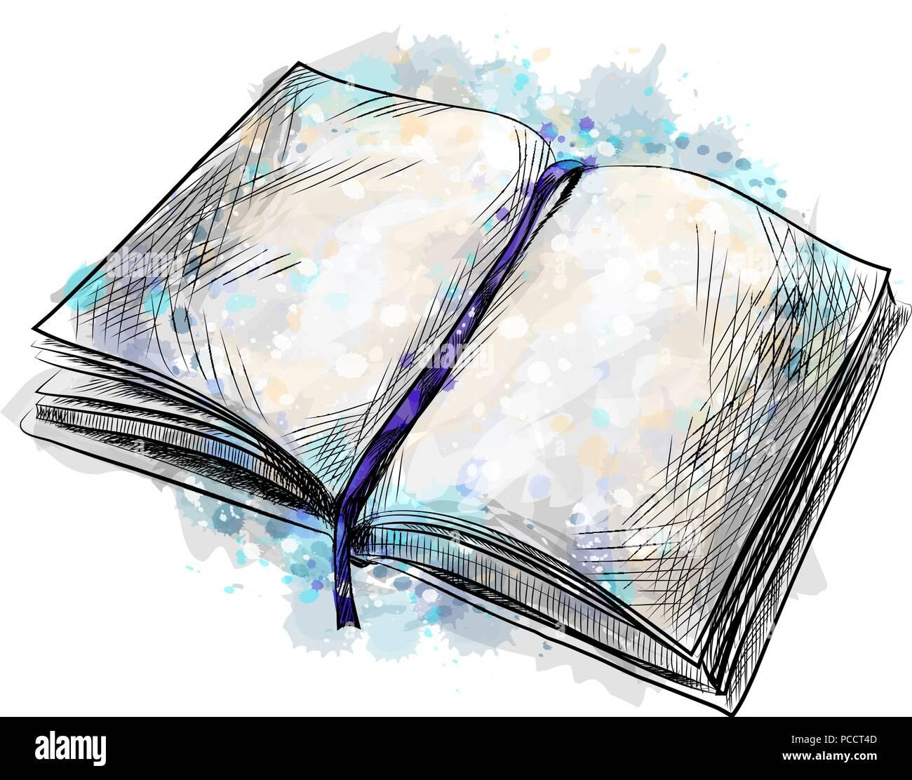 Aufgeschlagenes Buch Gezeichnet