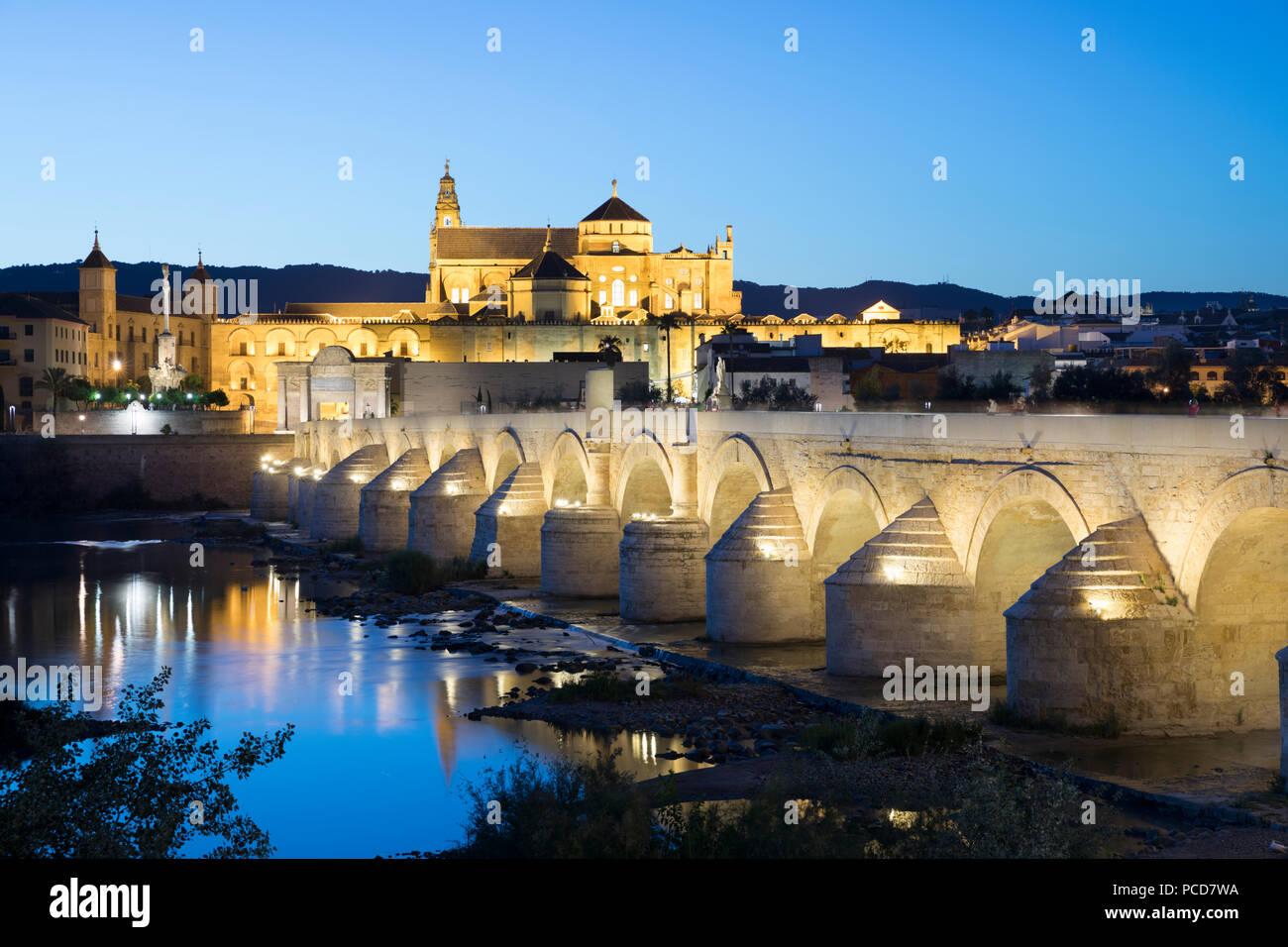 Der Mezquita und Römische Brücke über den Fluss Guadalquivir mit Flutlicht in der Nacht, Cordoba, Andalusien, Spanien, Europa Stockbild