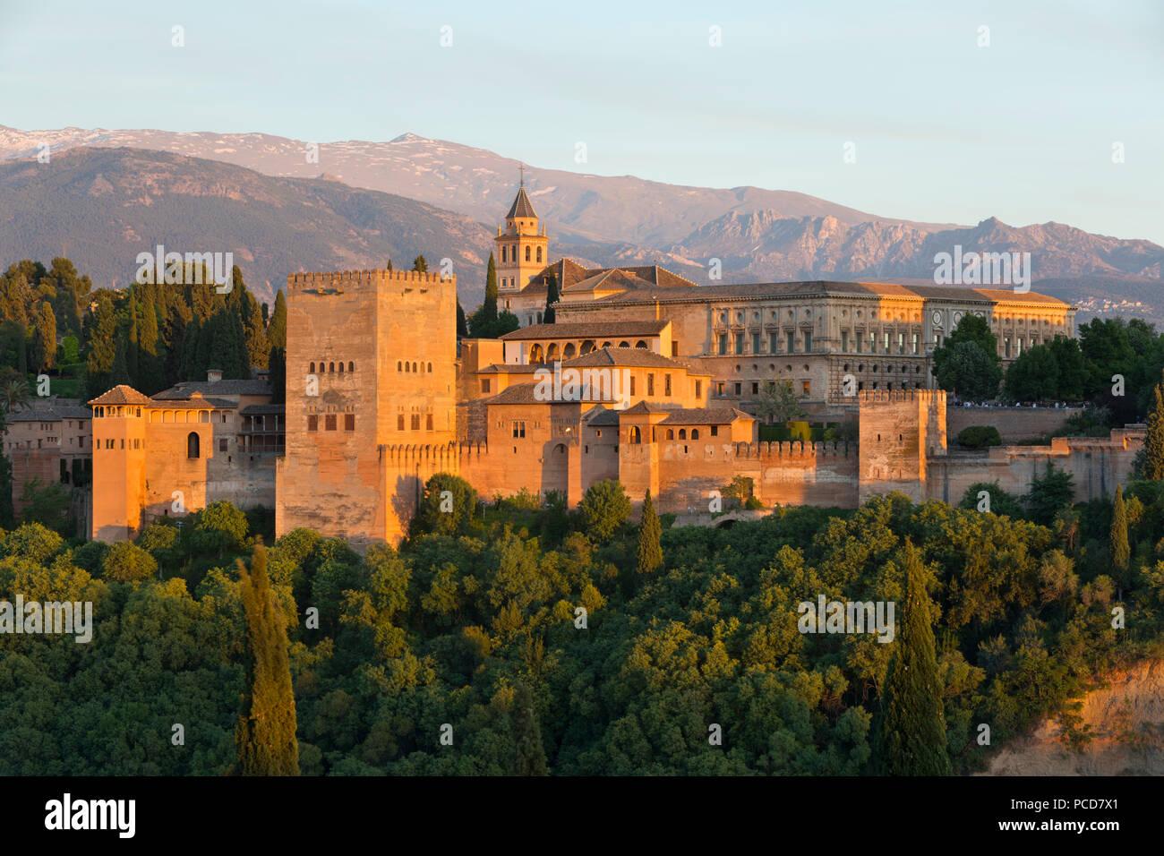 Die Alhambra, UNESCO-Weltkulturerbe, und Sierra Nevada Berge im Abendlicht von Mirador de San Nicolas, Granada, Andalusien, Spanien, Europa Stockfoto
