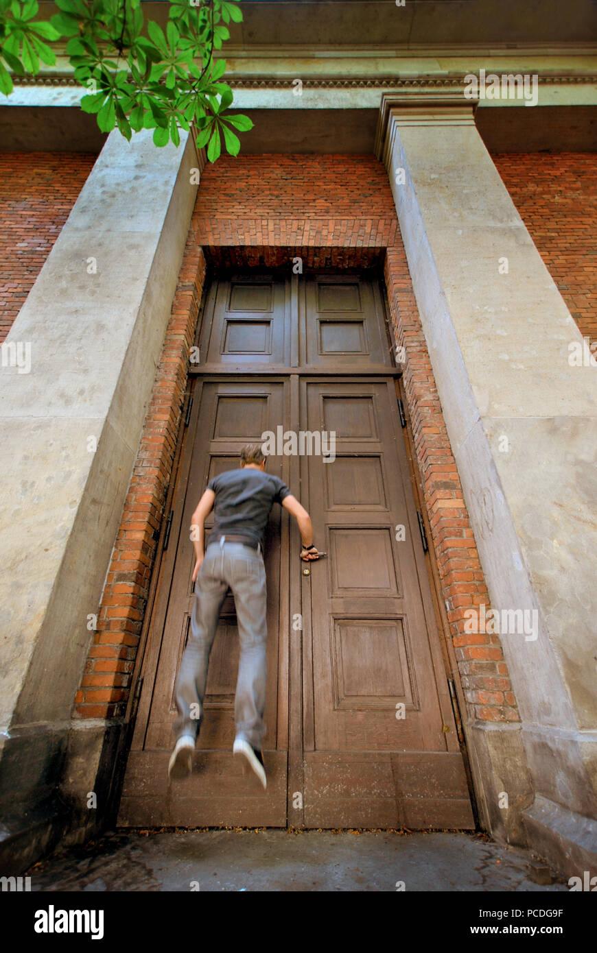 Eingang, Tür, öffnen Stockbild