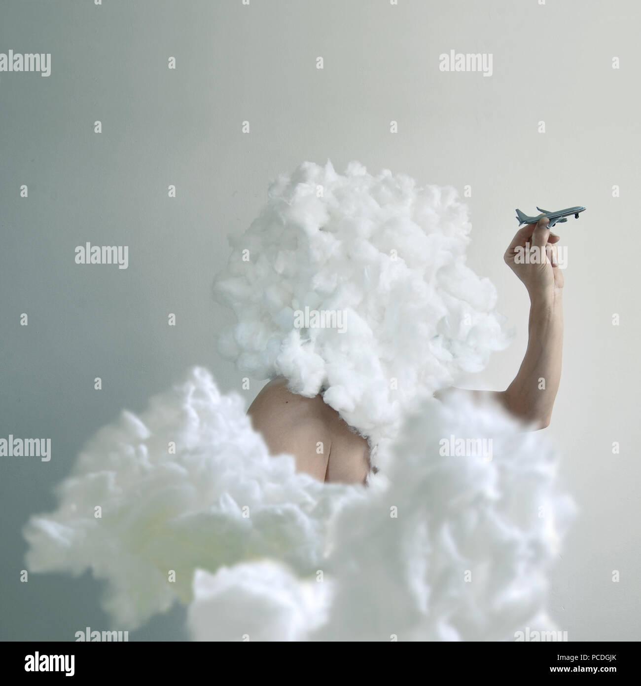 Humor, bizarre, Flugzeug, Wolken Stockbild