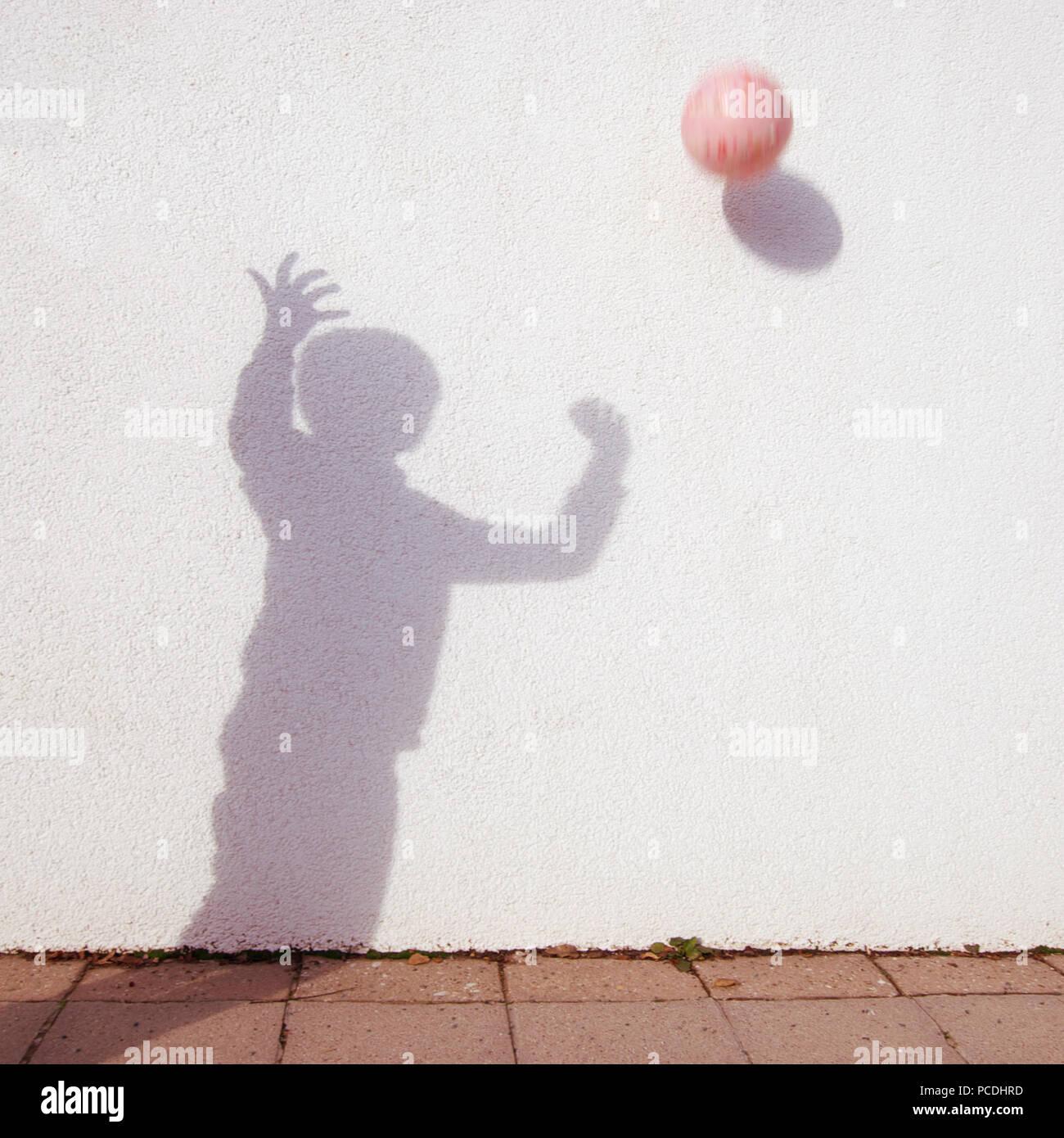 Silhouette, Kugel, Ball Spiel Stockbild