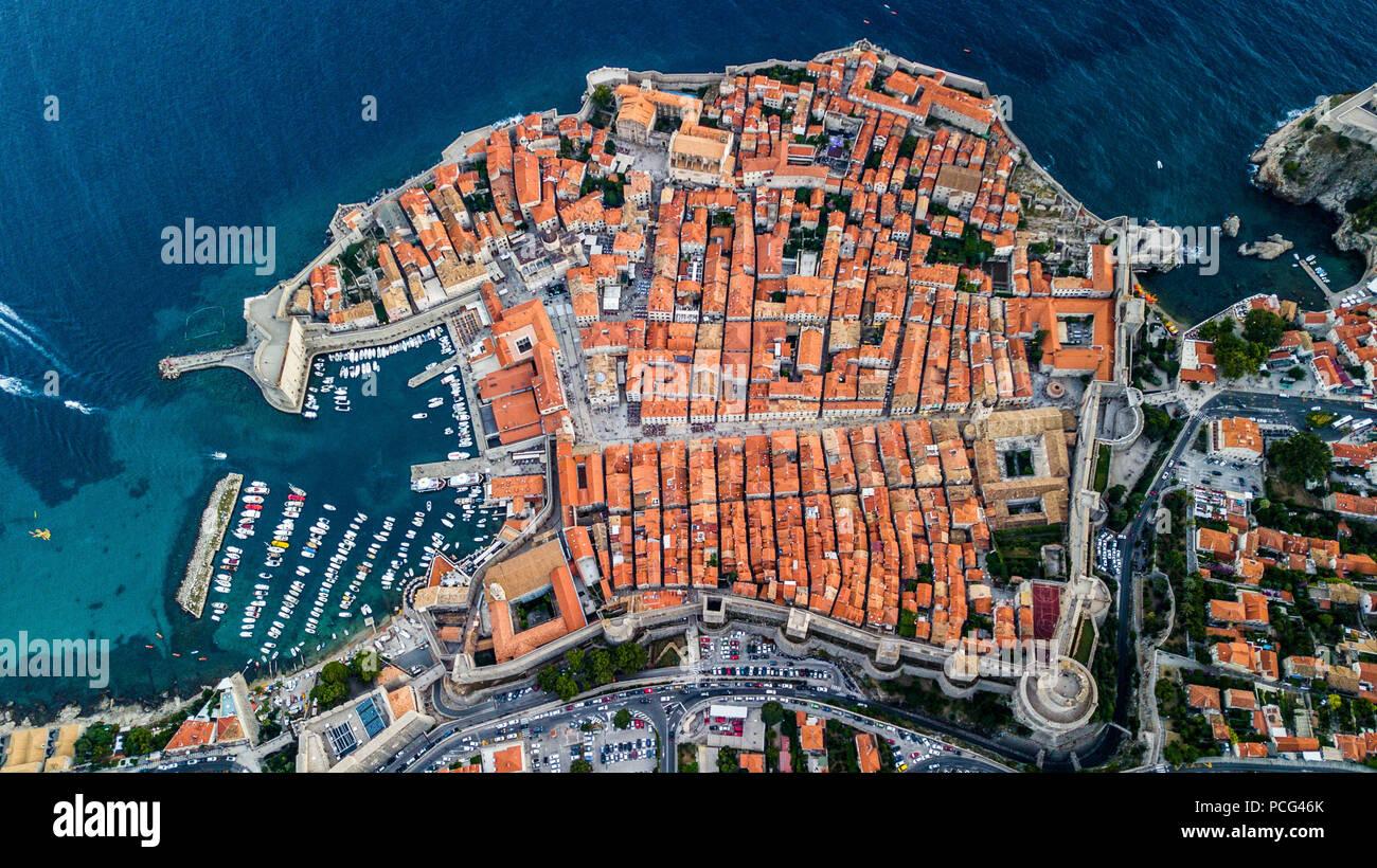 Die alte Stadtmauer von Dubrovnik, Kroatien Stockbild