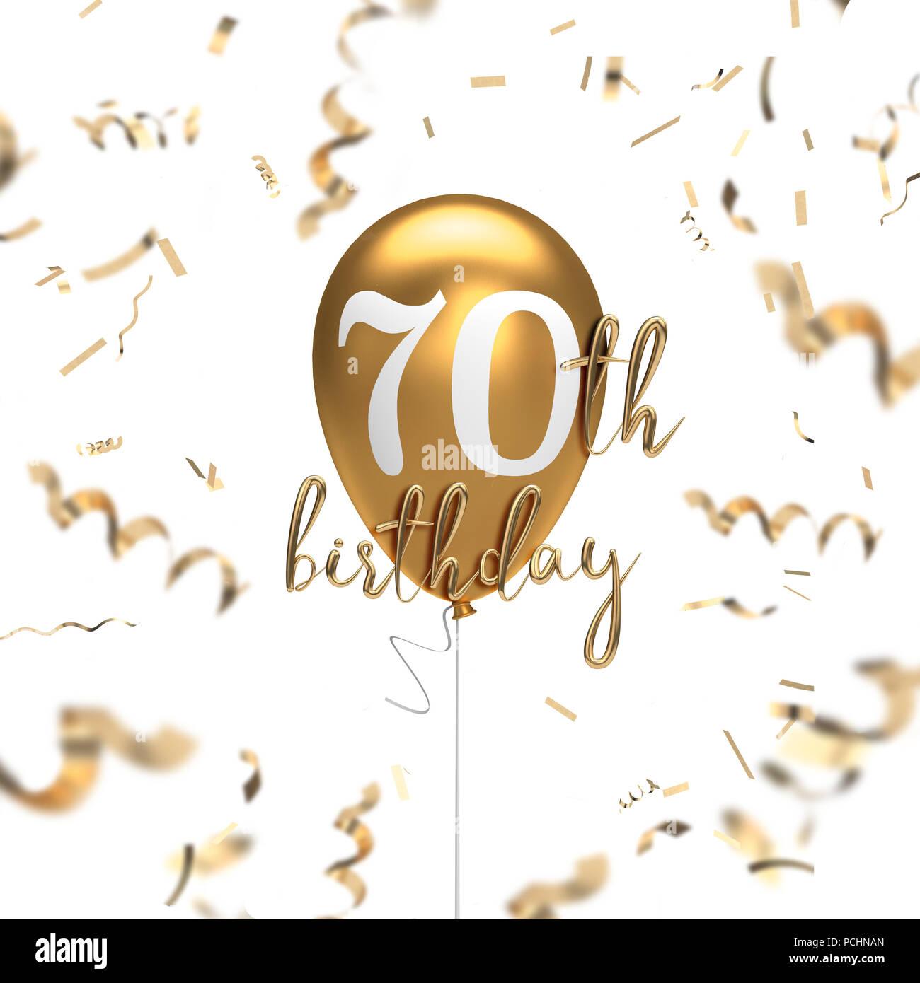 Happy 70th Birthday Gold Ballon Gruss Hintergrund 3D Rendering