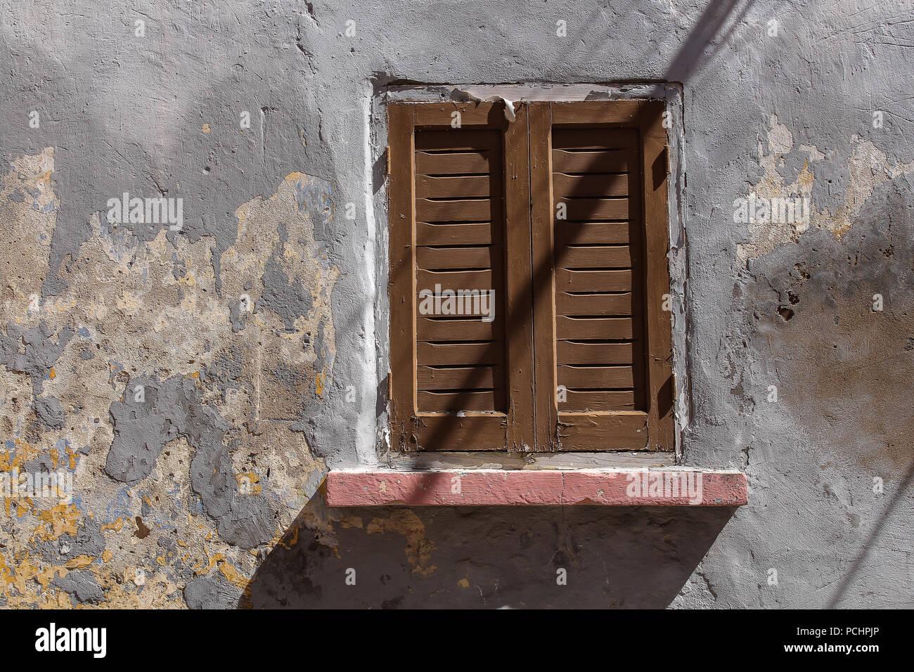 Graue Farbe Des Die Verwitterte Fassade Eines Hauses In El Jadida