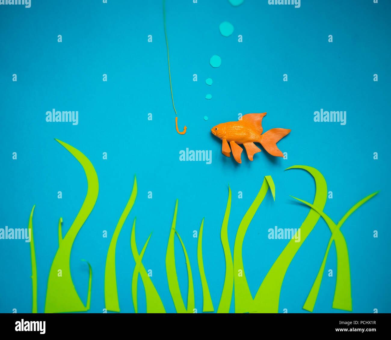 Kunsthandwerk, Kunststoff Fisch, Comic Stockbild