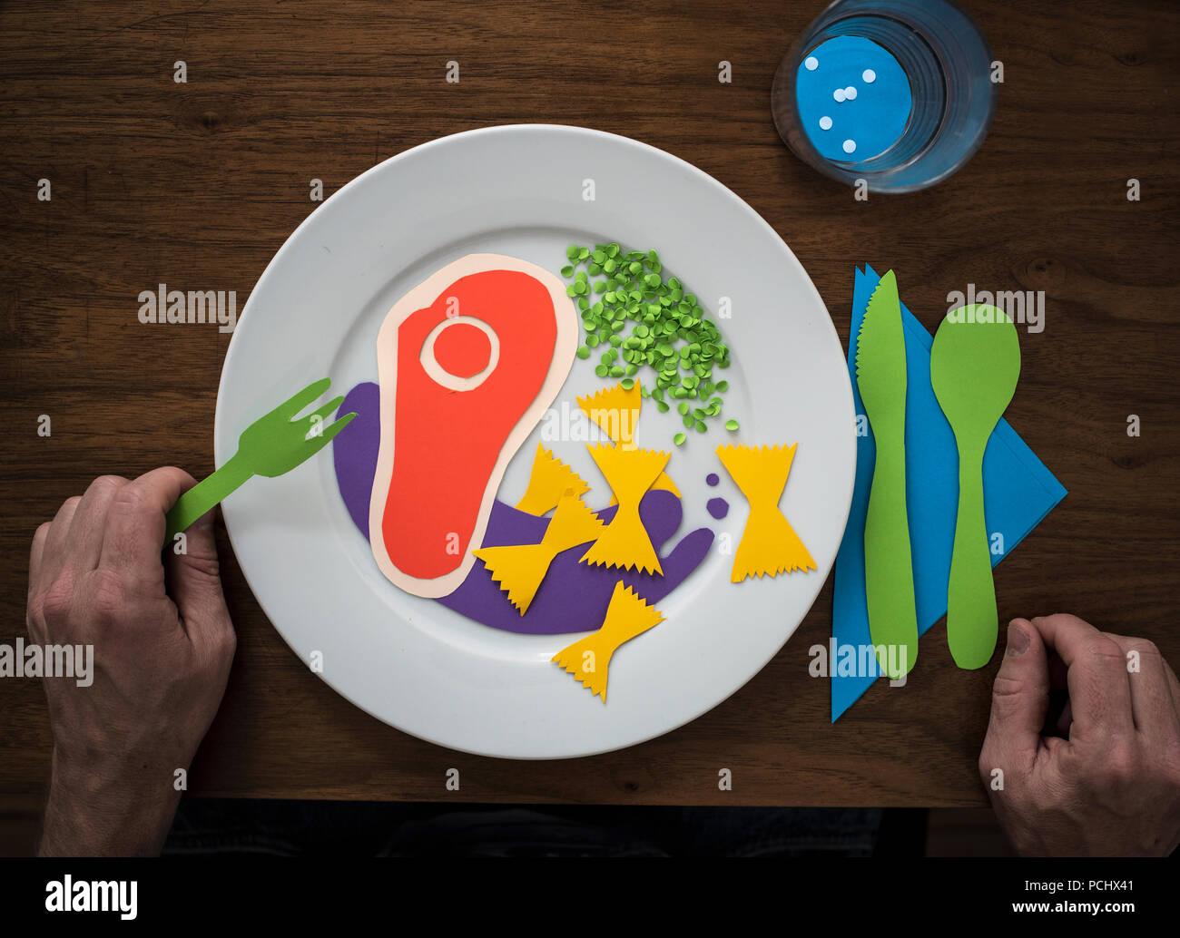 Essen, Papier Stockbild