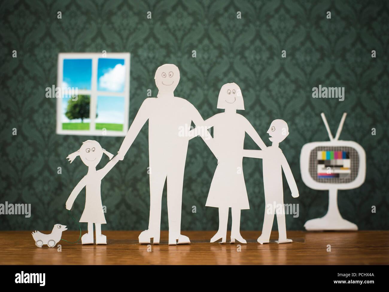 Fernsehen, Familie, Generation Stockbild