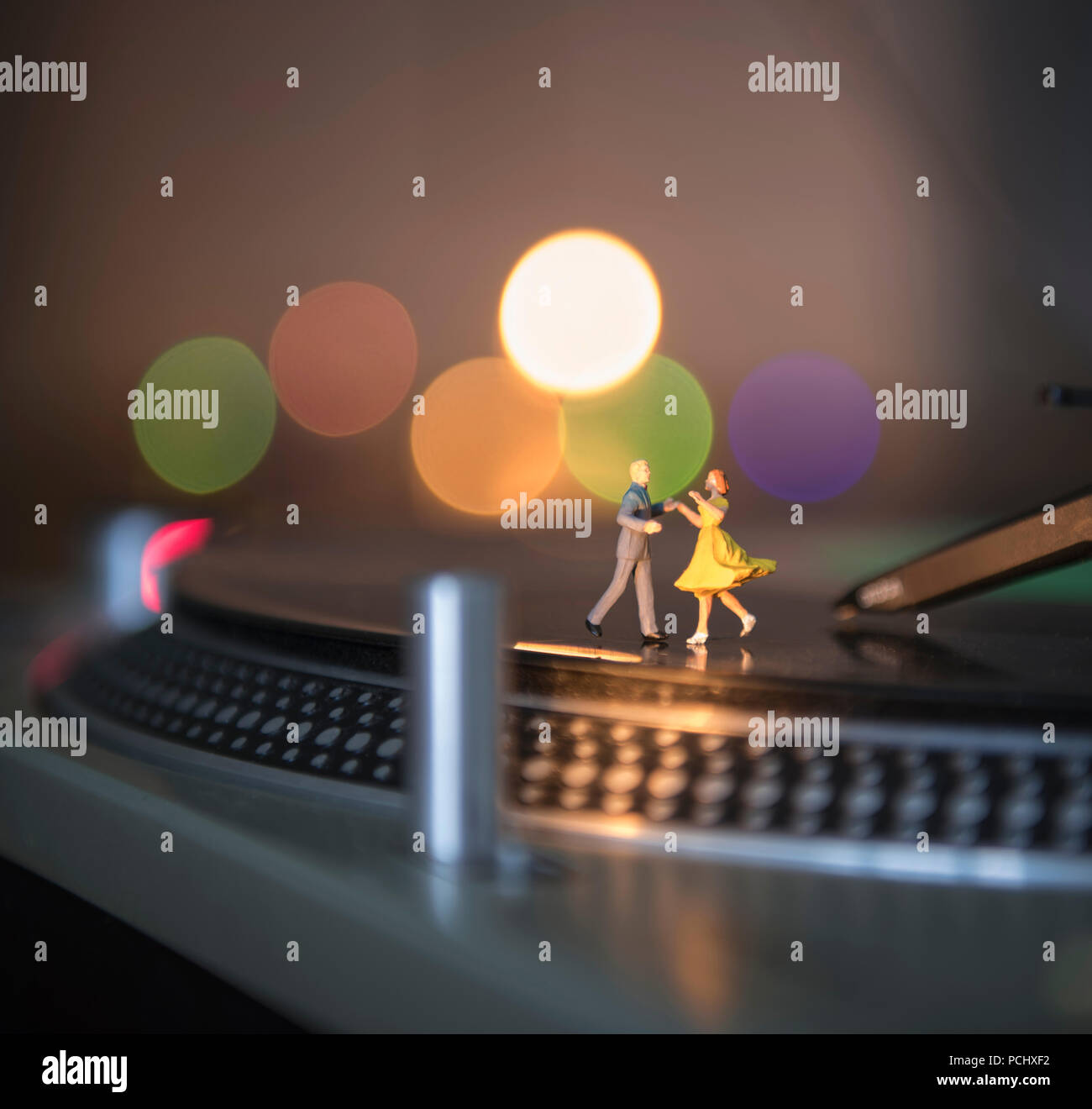 Audio, Tanzen, Plattenspieler Stockbild