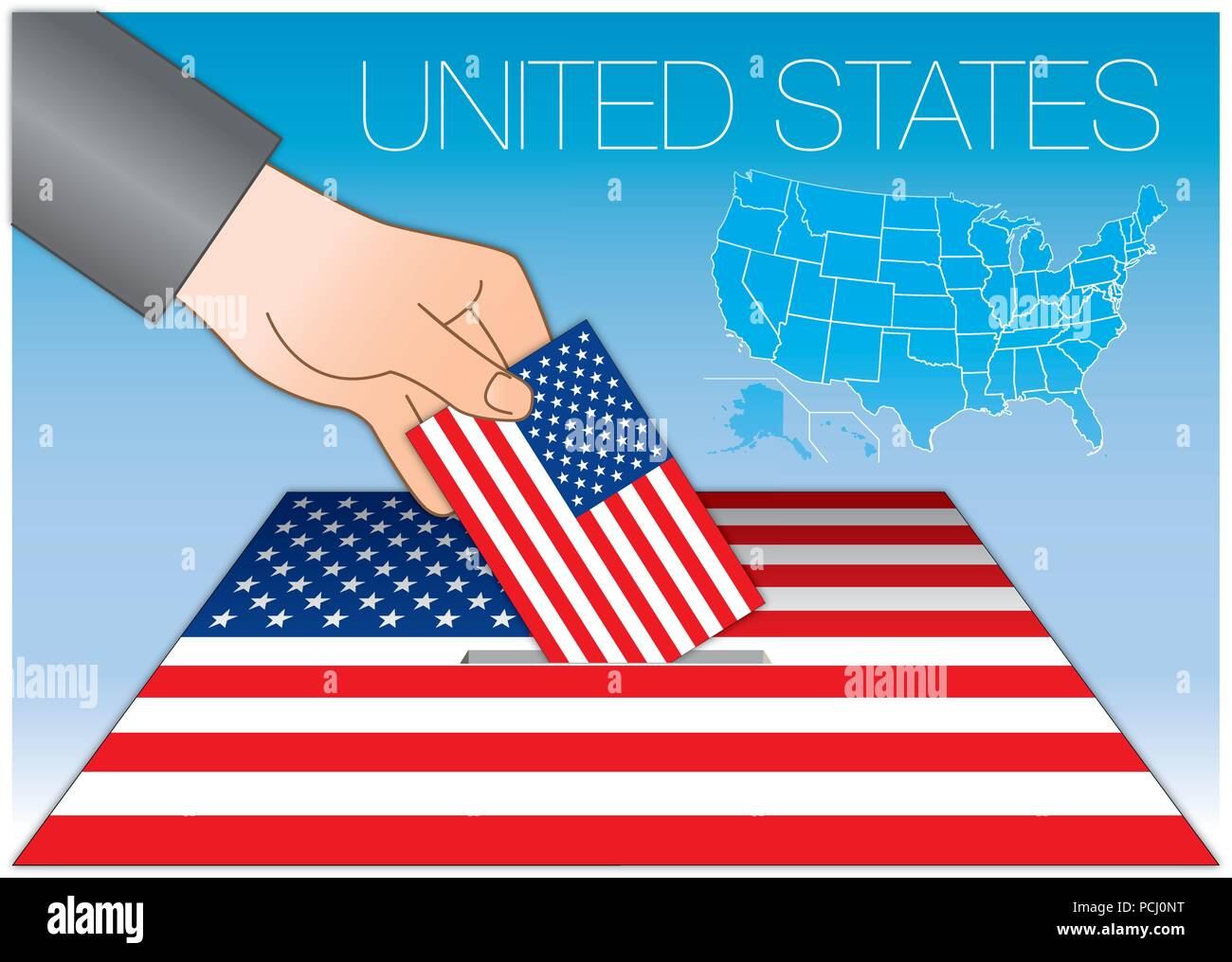 Vereinigte Staaten Von Amerika Wahlen Wahlurne Mit Fahne Und