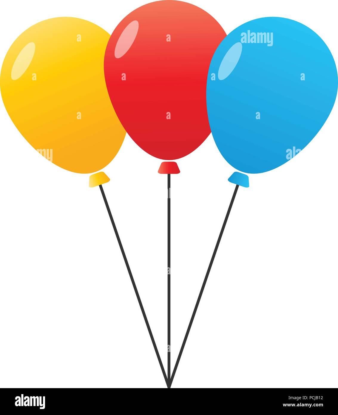 3 Ballon Mit Farbe Von Gelb, Rot Und Blau Sind Gebunden