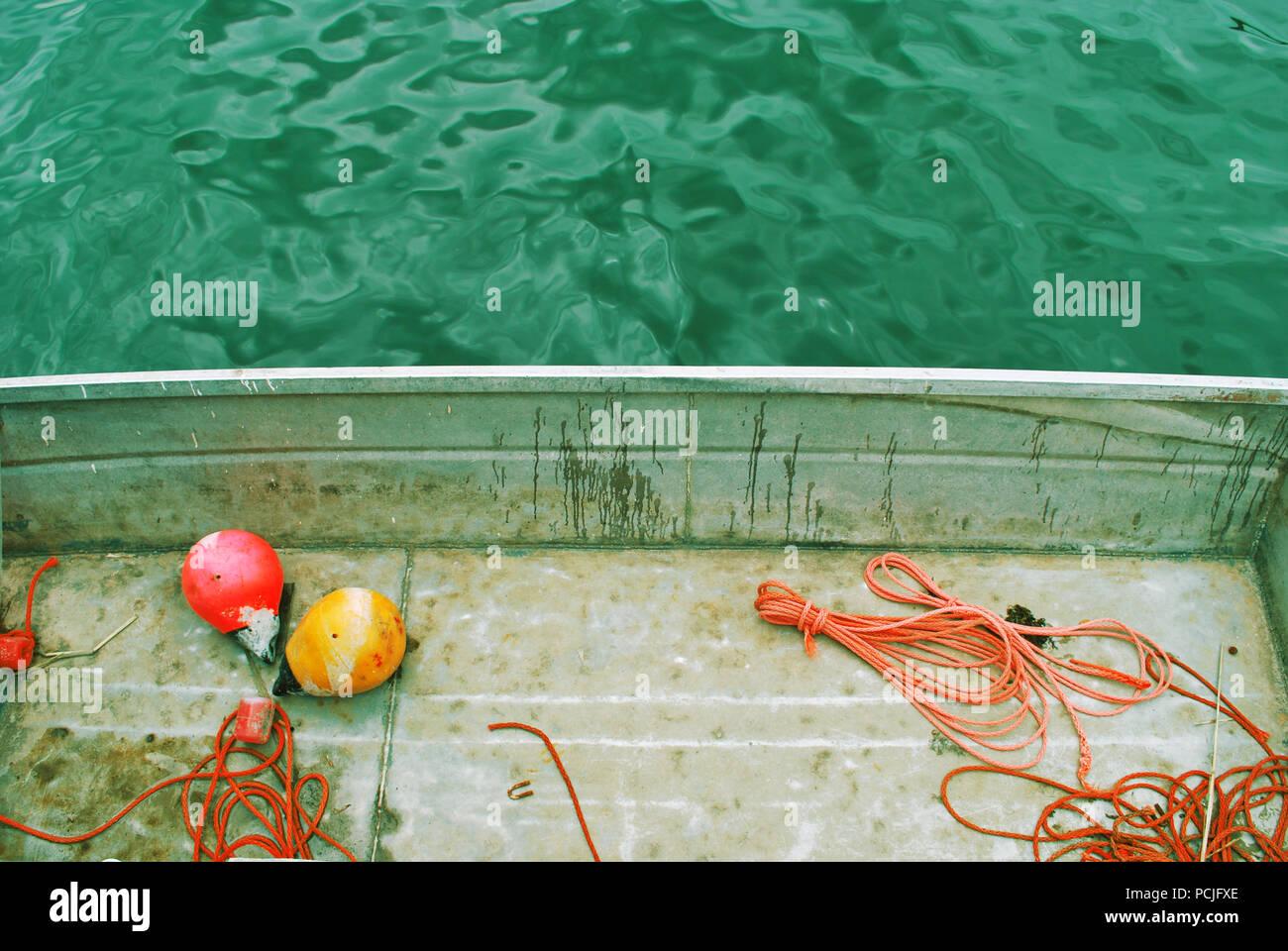 Boot, Seil, Schwimmer Stockbild