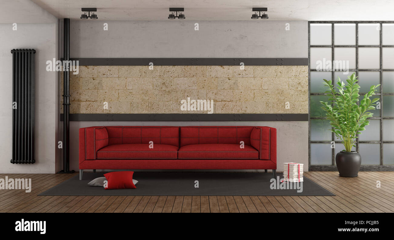 Wohnzimmer Mit Roten Sofa Steinmauer Und Alten Windows 3d