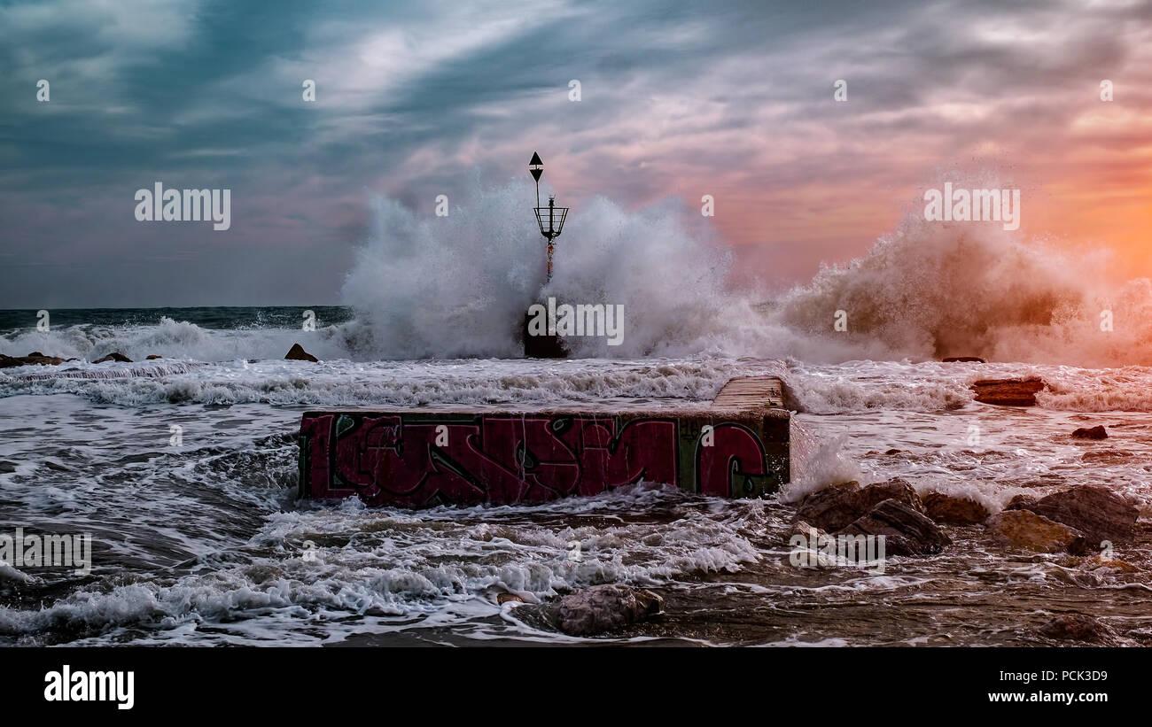 Malaga Spanien 29 Januar 2018 Sturm Wetter Mit Großen Wellen