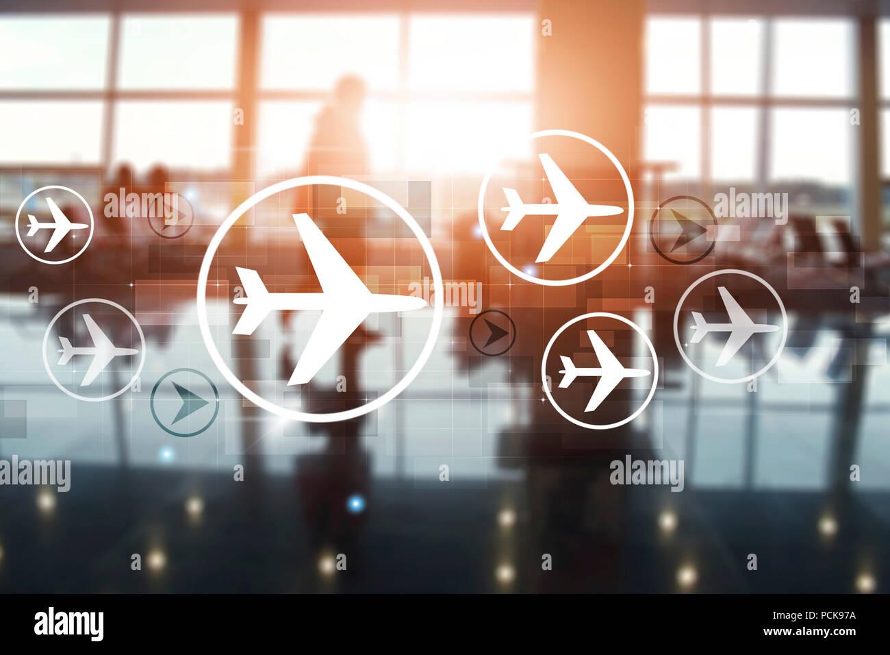 Flughafen Terminal verwischt und Passagiere in den Warteraum für gemischte Medien Stockbild