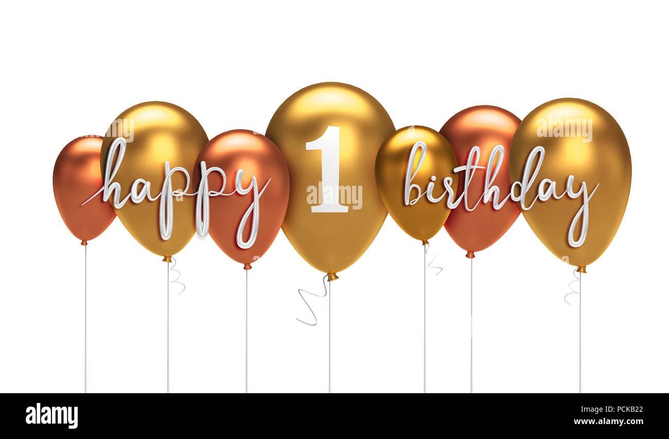 Glucklich 1 Geburtstag Gold Ballon Gruss Hintergrund 3d Rendering