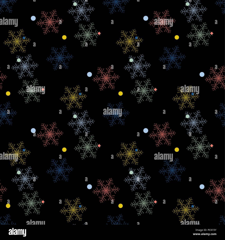 Abstrakte handgefertigte Schneeflocke nahtlose Muster Hintergrund ...