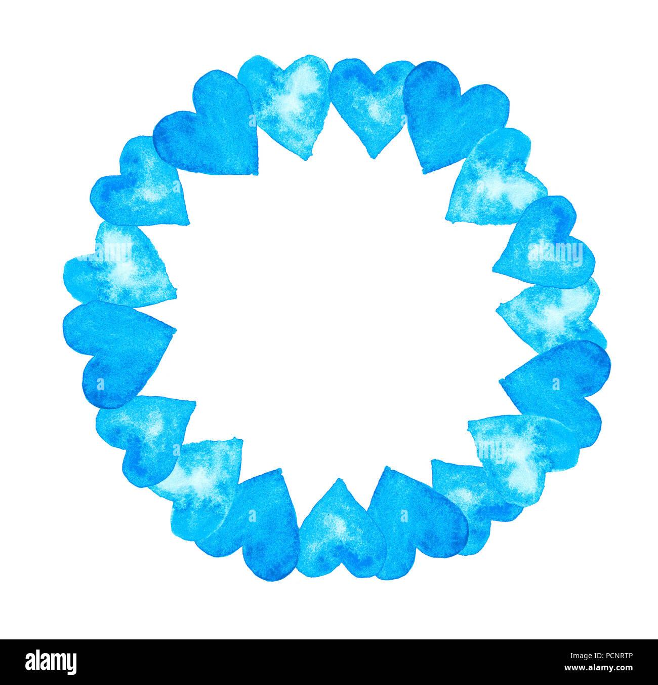 Kranz Einen Kreis Aus Aquarell Herzen In Den Farben Blau Türkis