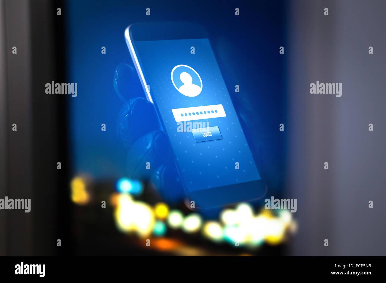 Identitätsdiebstahl und Cyber Security. Mobile Hacker und kriminelle Login für Personen persönliche online Konto, Informationen und Daten, die mit dem Smartphone. Stockbild