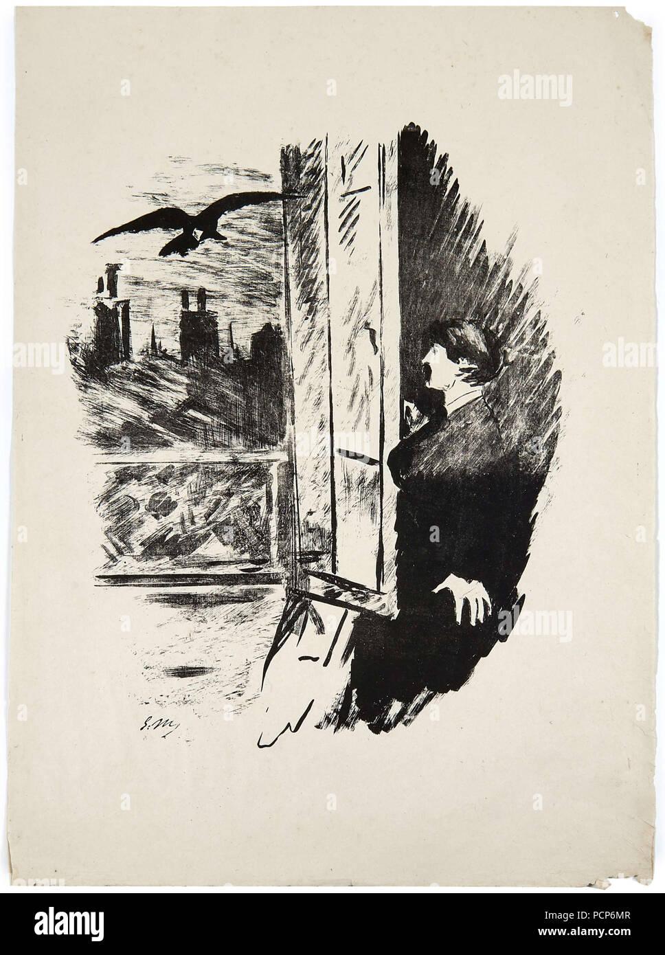 Illustration Für Das Gedicht Le Corbeau Raven Von Edgar