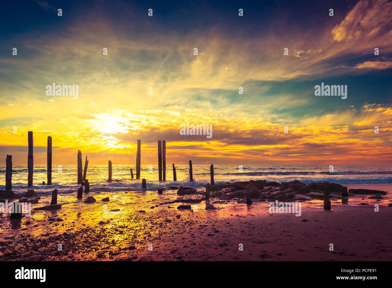 Port Willunga Strand Blick auf einen Tag, South Australia Stockbild