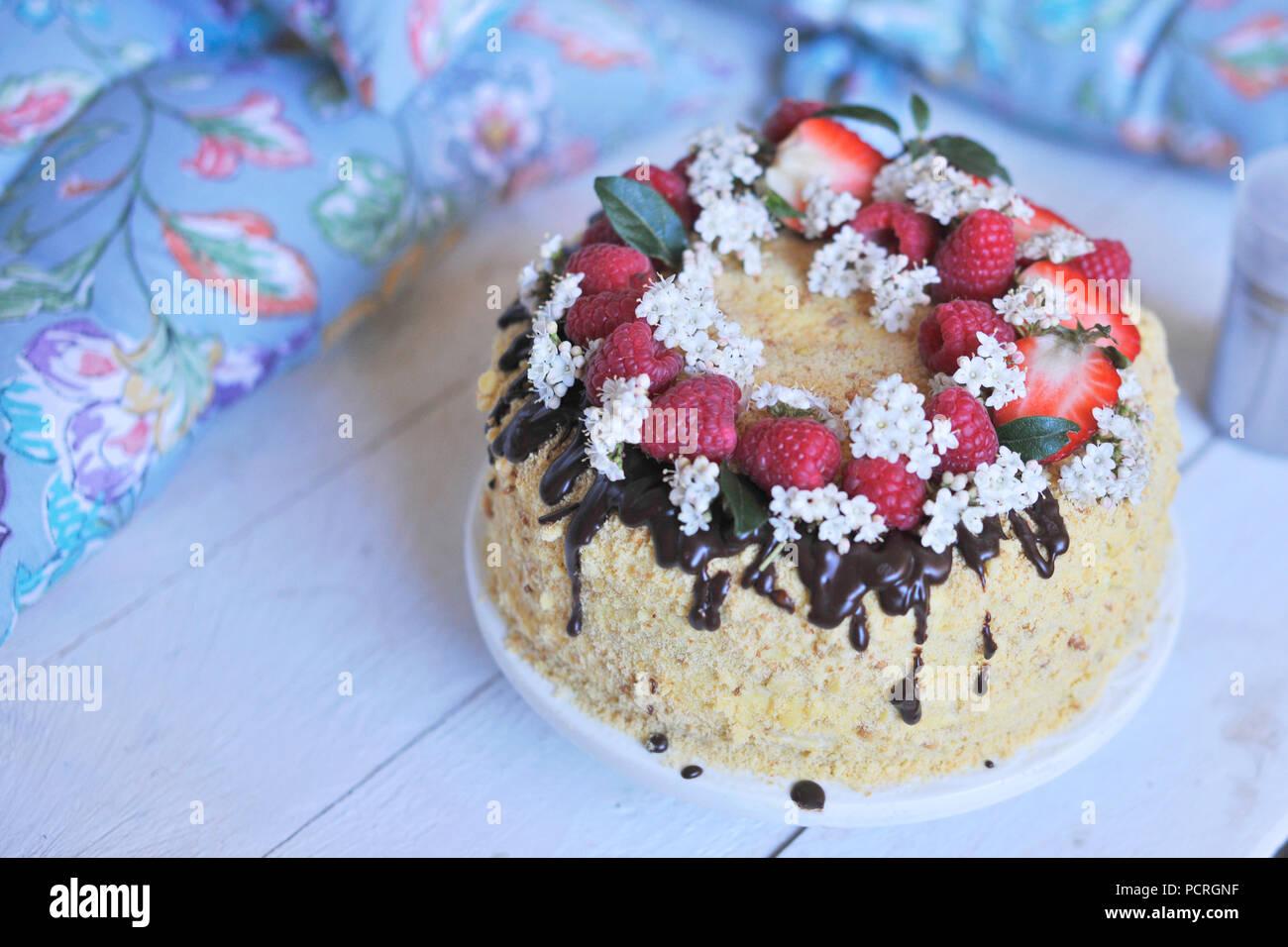 Honig Kuchen Mit Beeren Und Schokolade Dekoriert Susse Familie
