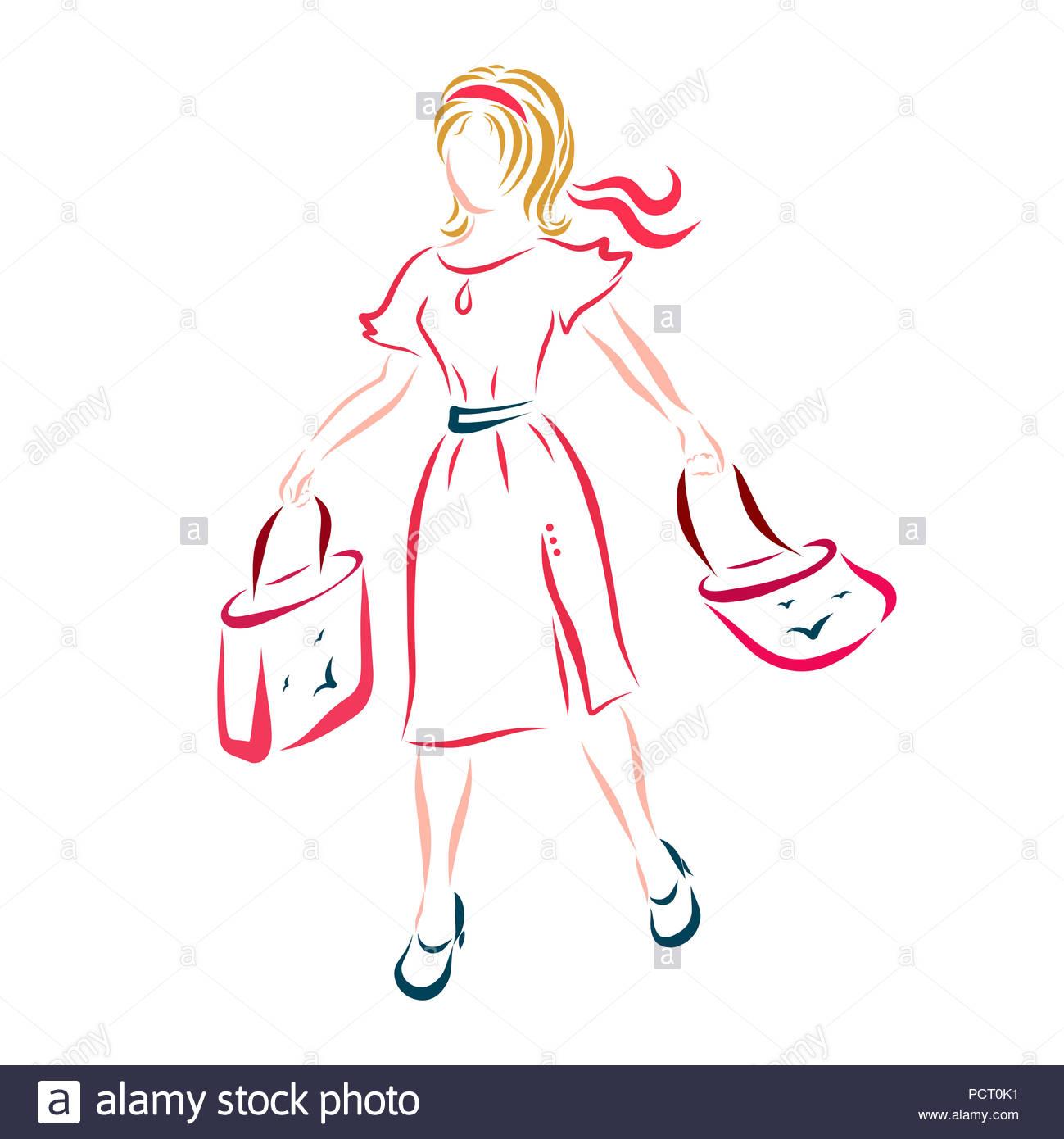 the best attitude f705c 5faa6 Ein Mädchen in einem scharlachroten Kleid kommt mit Shopping ...