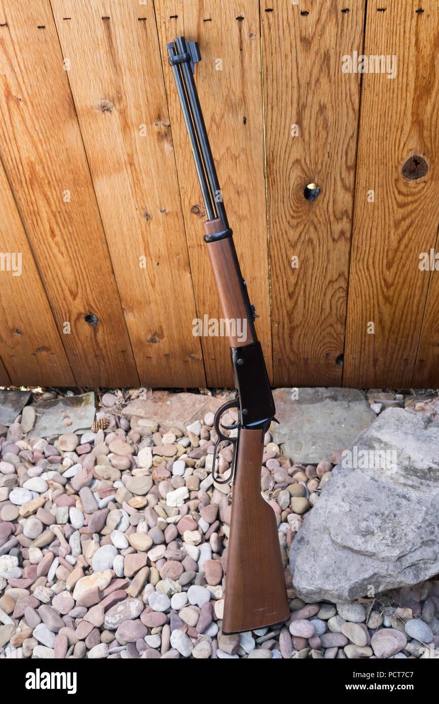 Hebel - Aktion Gewehr lehnte sich gegen einen Holzzaun, USA Stockbild