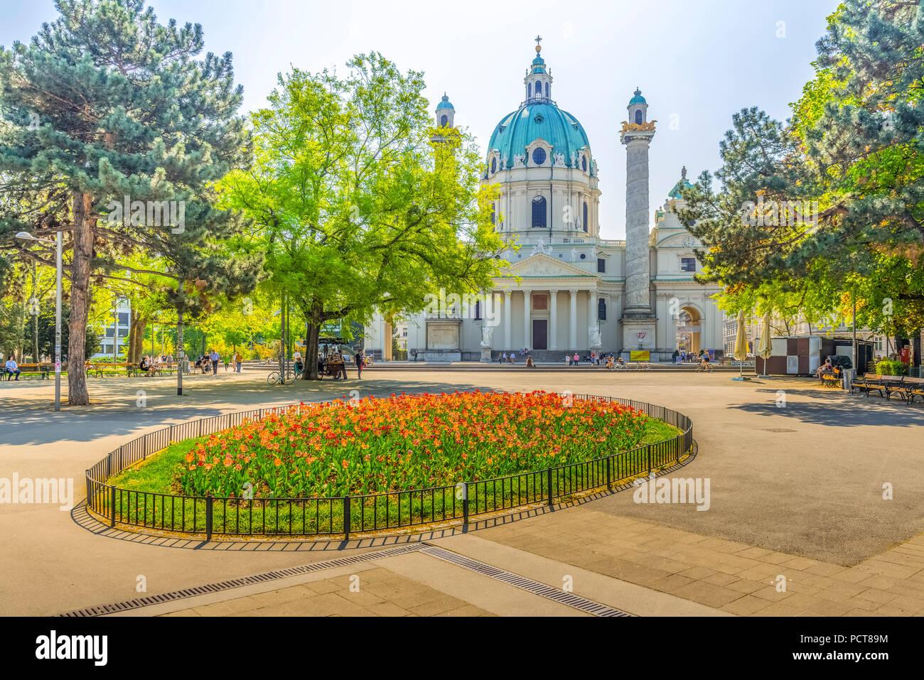 Europa, Österreich, Wien, Platz, Park, Resselpark, Karlskirche, Wien, Österreich, Architektur, Kapital Stockbild