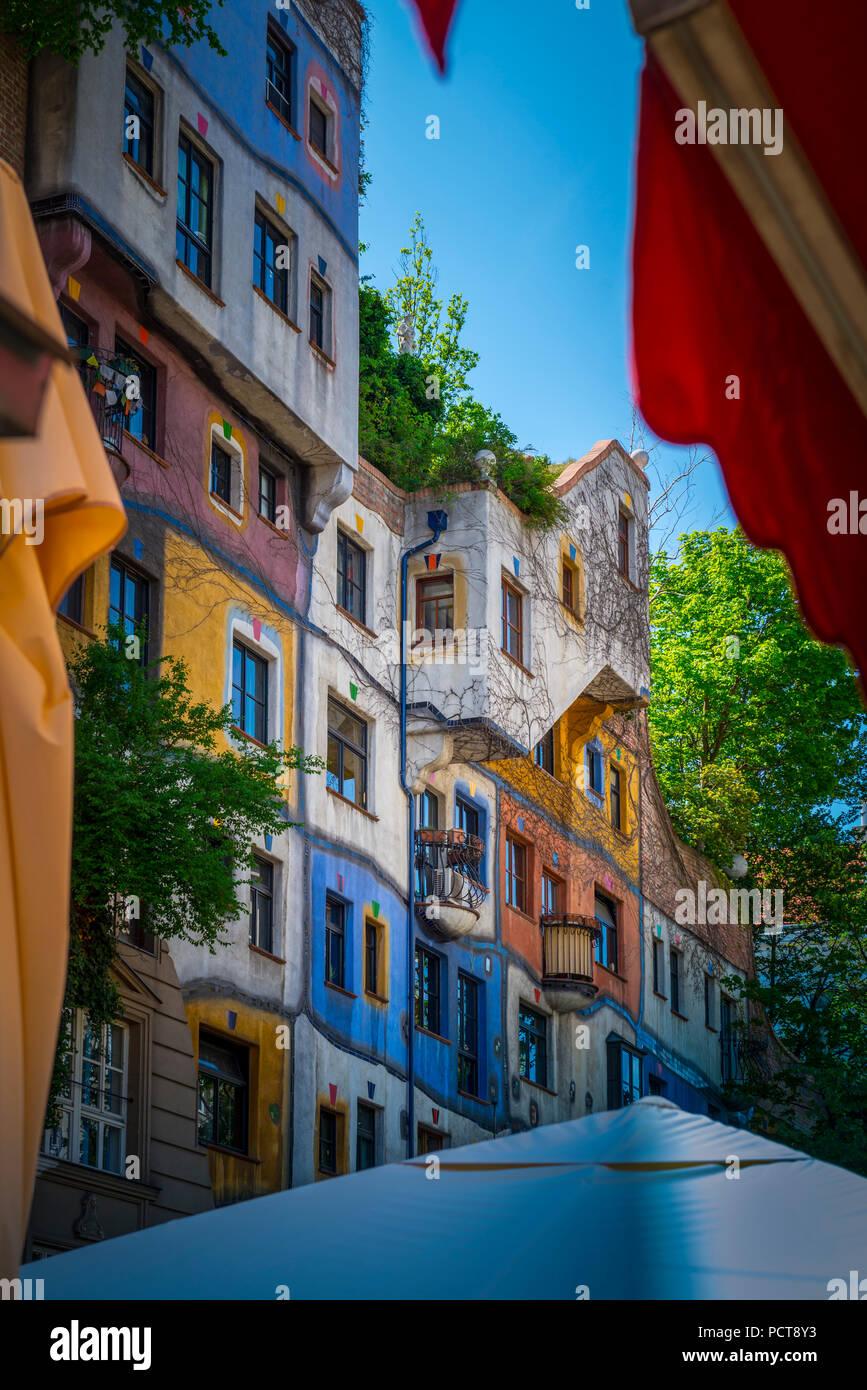 Europa, Österreich, Wien, Architektur, Haus, Hundertwasser, Kunst, Künstler, Löwengasse, Kegelgasse, Wien, Österreich, Architektur, Kapital Stockbild