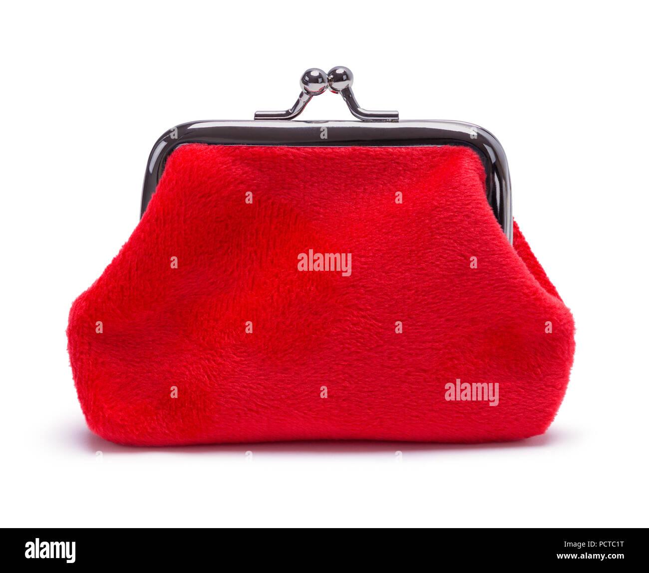 Red Velvet Geldbeutel isoliert auf weißem Hintergrund. Stockbild
